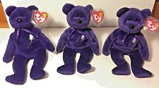 Three VERY RARE PRINCESS DIANA Beanie Baby Bear Lot 100 1st EDITION *VERY HOT*