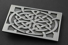 RECTANGULAR CELTIC KNOT WITH SQUARE EDGE METAL BELT BUCKLE  SCOTTISH GAELIC