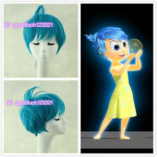 2015 New movie Inside Out Joy Short Blue ainme Party cosplay Wig + free wig cap