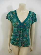 *Shamrock Anthropologie* Multi-Color Cap Sleeve Beads Woman Top Blouse Size M