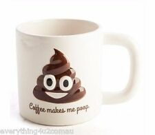 COFFEE MAKES ME POOP EMOJI EMOTICON NOVELTY COFFEE TEA MUG CUP - 900ML CAPACITY