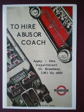 POSTCARD LTM 301 LONDON TRANSPORT 1934 POSTER TH HIRE A BUS OR COACH