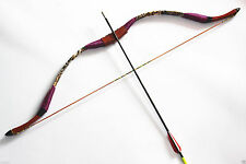 12LB Red Handmade Traditional Recurve Bow For Kids Youth Archery Shooting
