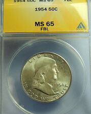 1954 ANACS MS 65 FBL  Franklin Half~~Wholesale Priced ~~Cheapest on Ebay!