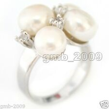 Fashion Women's Genuine Natural White Akoya Pearl Crystal Cluster Silver Ring