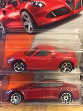 Lot of 2 Matchbox Tesla S Models & Alfa Romeo 4C 1:64 Die Cast NIP Short Card