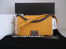 NWT CHANEL Le Boy Old Medium Yellow lambskin Ruth / antique silver HW   *RARE*