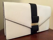 NWT Kate Spade Parchment Drive Havana Leather Clutch Ivory Black Bow