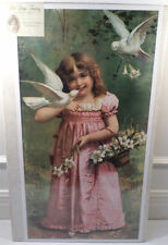 "Victorian Lithograph Print Picture ""Greetings Of Spring""  Girl With Birds 12X23"