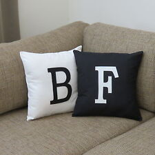 PERSONALISED CUSHION COVER - MONOGRAM INITIAL PLAIN - CHOOSE YOUR COLOUR /LETTER