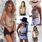 UK Womens Ladies Sequin Sparkle Glitter Lace Mesh High Neck Party Crop Top