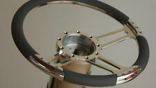 "STEERING WHEEL14"" BILLET 3 SPOKE HALF WRAP GREY  4 COLORS AVAILABLE NEW DESIGN"