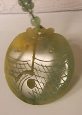 Old  Chinese Natural Imperial Jade Gold Beads Necklace Fish Pendant