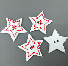 25X Christmas Wooden Buttons stars-shape Fit Sewing Scrapbooking printing 32mm
