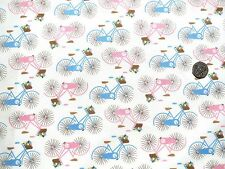 Bicycle multi fabric Pink & blue on Cream 1 metre 100% Cotton F8229-2