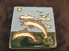 "Tile art flying dolphins 4"" square glazed pottery nautical decoration ocean sea"