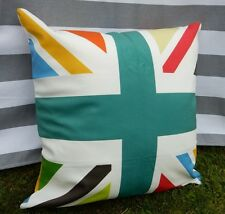 Union Jack Cushion Cover. Rainbow, Teal, Flag, Velvet, Modern British Design