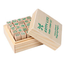 25Pcs a Set Wooden Box Lovely Diary Pattern Stamp Rubber Cute DIY Writing Art #S