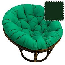 "International Caravan  42"" Rattan Papasan Chair Solid Twill Cushion Forest Green"