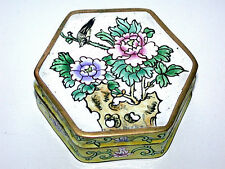 Antique Pre 1890 Chinese Champleve Cloisonne' Six Sided Box