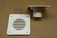 NEW - RV/Camper/Trailer Battery Box Vent w/ Backing Plate For Hose, WHITE