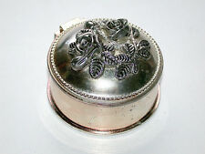 Beautiful Antique Silver Roses Lided Round Hinged Trinket Ring Casket Box