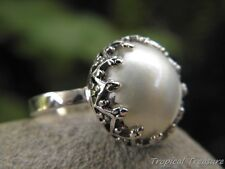 15mm White Mabe Pearl  (Size 7 3/4, P) & 925 SOLID Silver Ring