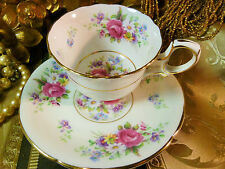 PARAGON COFFEE CUP AND SAUCER PINK ROSE AND FLORALS STRUTTED HANDLE GOLD 1953+