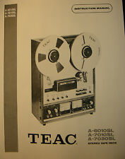 TEAC A-6010SL, A-7010SL & A-7030SL TAPE DECK INSTRUCTION MANUAL 35 Pages