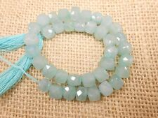 "Fine 37 Pec,Milky aqua Gemstone Cube box Faceted Beads,9""long Strand 6mm-6.5mm."