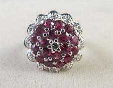 Antique Style 14k White Gold Ruby Diamond Cluster Ladies Ring Size 6.75