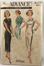 1950s 1957 Advance Sewing pattern Sheath Dress With Bolero 8323  Bust 34