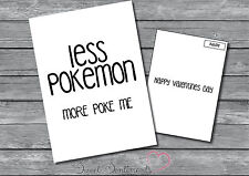 Funny Rude Adult POKEMON POKE Card Valentines Day Card  A5