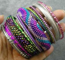 BOHO Resin Crystal Steel Aluminum Brass Polyester Rainbow 14 Bangle Bracelet Set