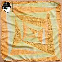 VINTAGE 50s ABSTRACT MOTIF SILK SCARF - (Q)