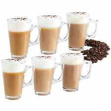 VonShef Set of 6 Latte Mocha Cappuccino Coffee Hot Chocolate Glasses 200ml