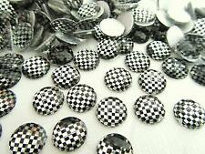 60 Black/White Gingham Craft Rhinestones 10mm Hot Fix Iron On/studs E14-Checker