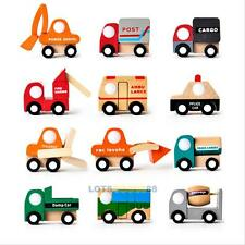 Mini Wooden Truck Vehicle Baby Kids Small Pull Back Car Model Educational Gifts