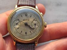 RARE EBERHARD CHRONOMETRE CAL.6244 SOLID GOLD 18K MONOPUSHER BIG SIZE 41.7MM