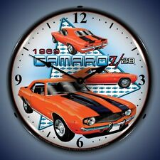 New old 1969 Camaro Z28 muscle car LIGHTED advertising clock  USA made Free Ship
