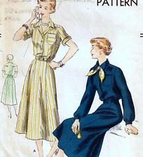 "EASY Vintage 50s DRESS Sewing Pattern Bust 32"" Sz 8 SHIRTWAIST Grace Kelly RETRO"