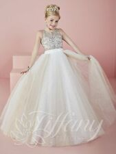 Tiffany 13476 AUTHENTIC  Ivory Champagne Girls Pageant Gown Dress sz 12