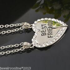 Damen Silber Halskette Charm Herz Anhänger Strass BEST FRIENDS Modeschmuck