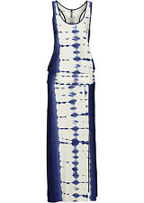 Sommer Maxi Kleid Beinschlitz Strandkleid Blau Pink Braun Viskose XS S M L neu