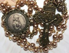 St. Joan of Arc Rosary~ Bronze Swarovski Pearls~ Pardon Crucifix