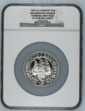 1987 GERMANY BREMERHAVEN 5OZ SILVER SAILING SHIP NGC PF 70 ULTRA CAMEO  W/COA