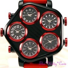 Black & Bright Red Mens 5 Zone Multi Dial World Time Hip Hop Gangster Pimp Watch