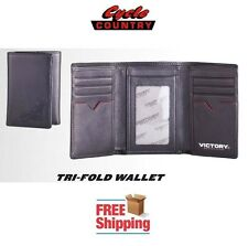 VICTORY MOTORCYCLES LEATHER TRI-FOLD WALLET BLACK RED AUTHENTIC FREE SHIPPING