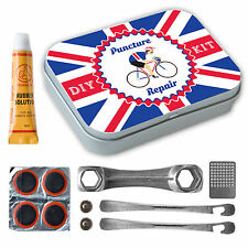 Retro Bicycle Puncture Repair Kit Complete with Metal Tin Union Jack L'Eroica
