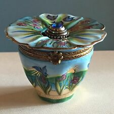 Hand Painted Flower with Removable Perfume Bottle Trinket Box Limoges France